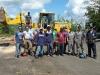 Estudiantes del Empire State Shipque quienes continúan los trabajos de limpieza y reconstrucción