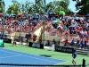 Torneo Fed Cup dado del 1 al 6 de febrero en el Centro de Tenis Honda. Los espectadores del juego sentados en las gradas.