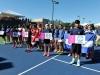 Torneo Fed Cup dado del 1 al 6 de febrero en el Centro de Tenis Honda. Representantes de cada país que participaron en el FED Cup sujetan banderines con el nombre de su país.