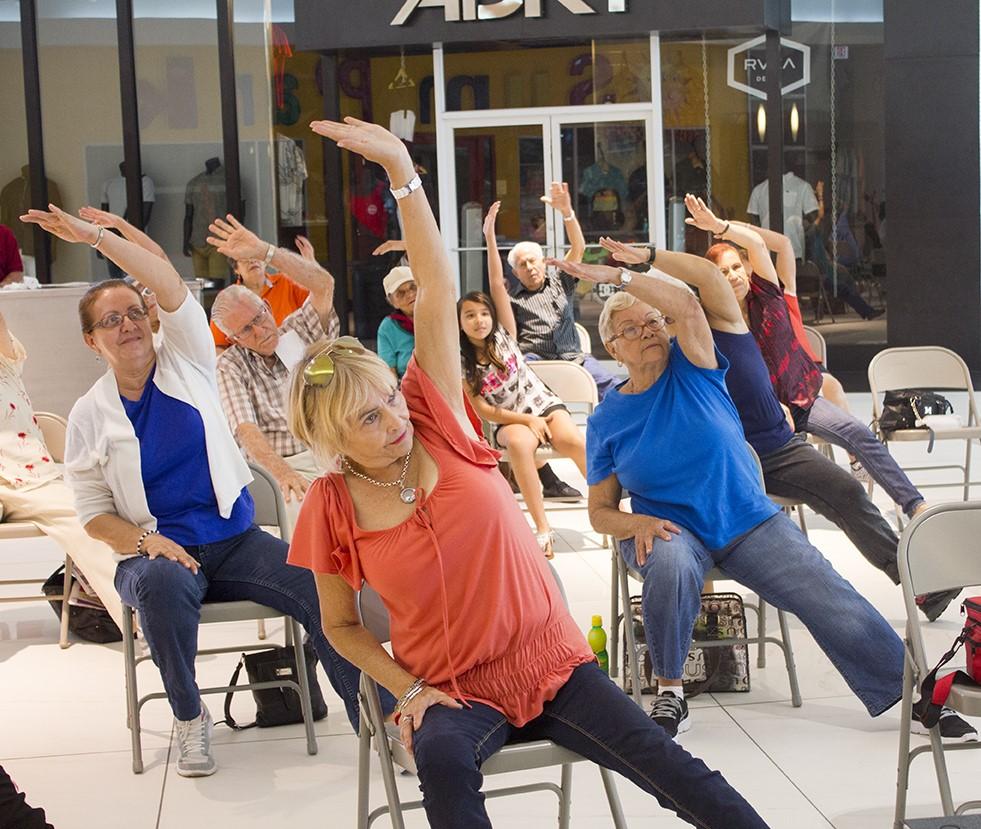 Personas haciendo estiramientos como parte del Programa Sistema Viva