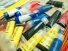 Tubos de pinturas utilizadas en el taller