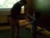 Niño e intructor conociendo sobre anfibios y reptiles
