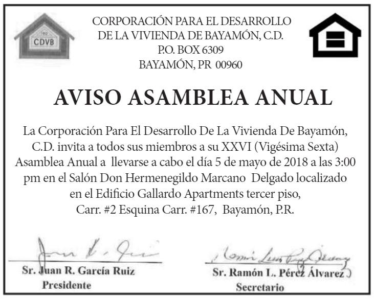 Asamblea Anual CDVB - 5 de mayo de 2018