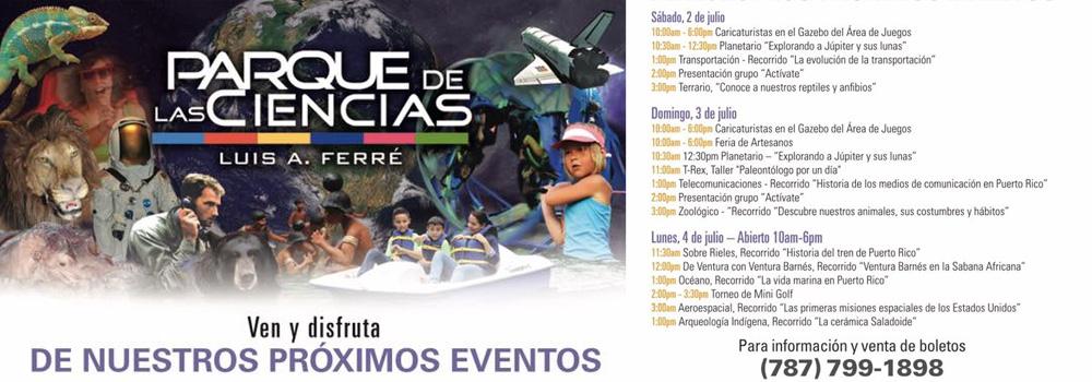 Actividades Parque de las Ciencias - 2 al 4 de julio de 2016