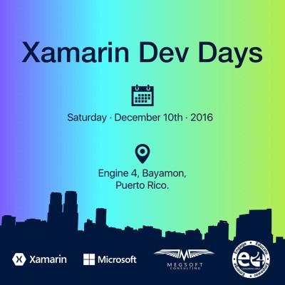 Xamarin Dev Days en Engine-4 el 10 de diciembre de 2016 desde las 9am