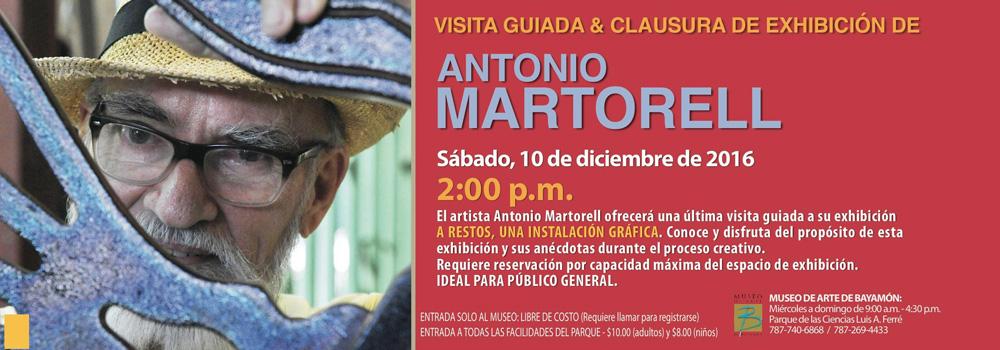 Visita Guiada y Calusura de Exhibición de Antonio Martorell el 10 de diciembre a las 2:00 p.m. en el Museo de Arte de Bayamón