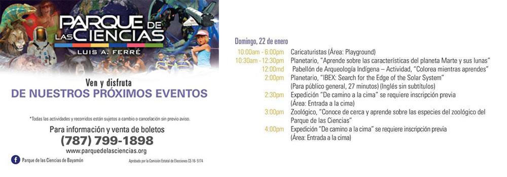 Calendario de actividades del Parque de las Ciencias, Domingo 22 de enero 2017
