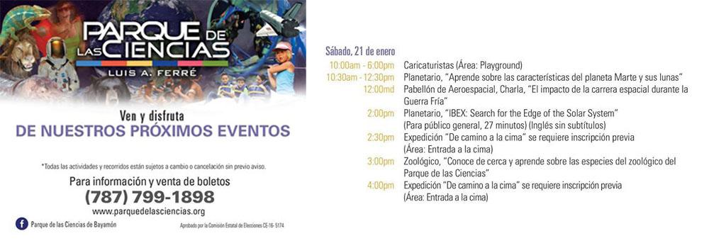 Calendario de actividades del Parque de las Ciencias, Sábado 21 de enero 2017