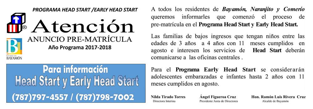 Anuncio Pre-Matrícula Head Start y Early Start - Programa 2017-2018