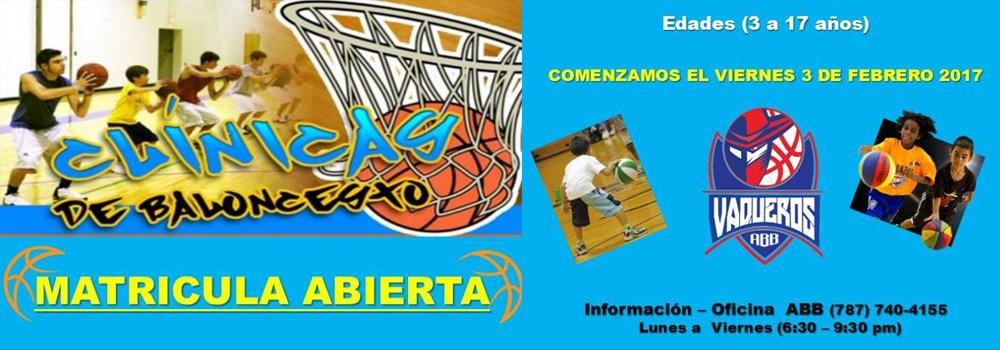 Clínicas de Baloncesto: Matricula Abierta para Bayamón ABB. Niños de 3 a 17 años.