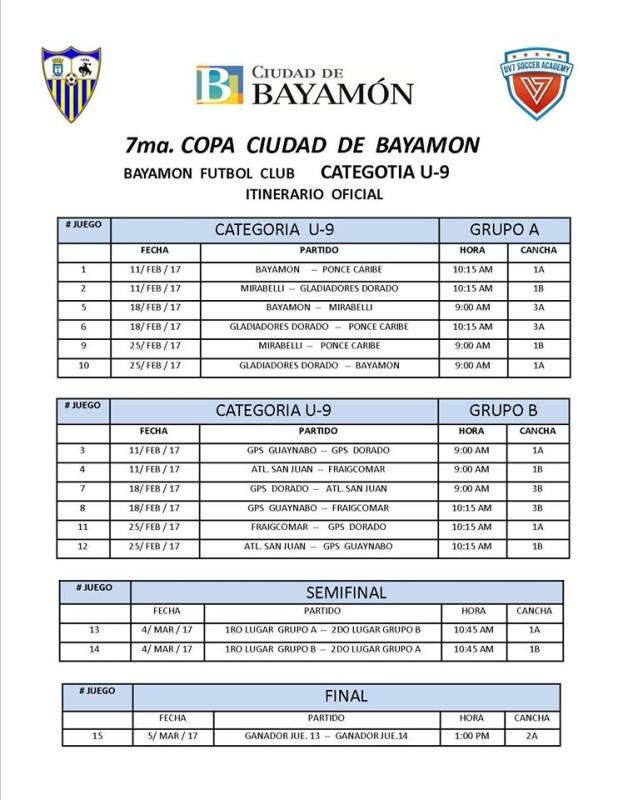 Itinerario Oficial Categoría U-9 y finales