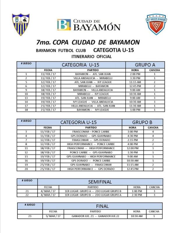 Itinerario Oficial Categoría U-15 y finales