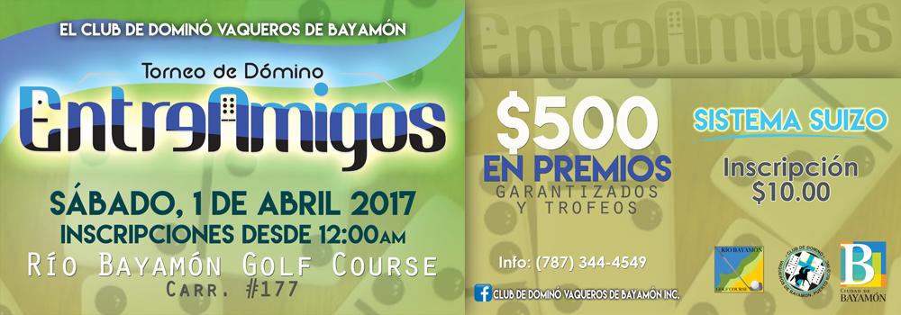 Torneo de Dominó Entre Amigos el 1 de abril de 2017 desde las 12:00 p.m. en el Río Bayamón Golf Course