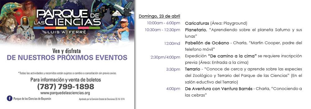 Calendario de actividades PDC Domingo, 23 de abril