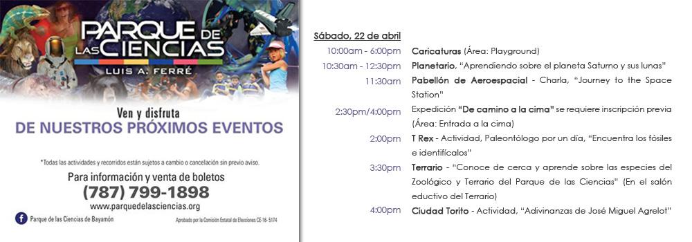 Calendario de actividades PDC Sábado, 22 de abril