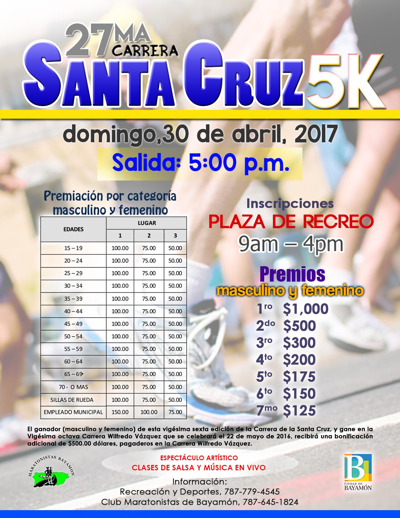 Carrera Santa Cruz el 30 de abril de 2017
