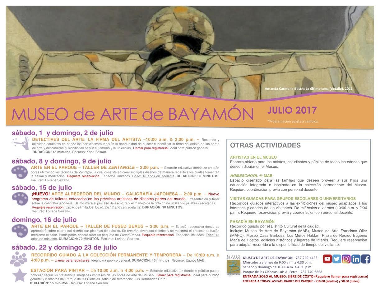 Calendario de Actividades para Museos de Bayamón - Mes de Julio 2017 ...