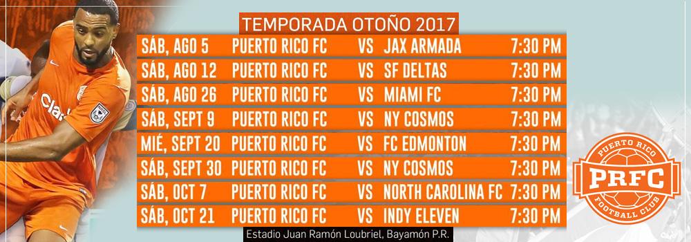 Calendario de Juegos PRFC - Otoño 2017