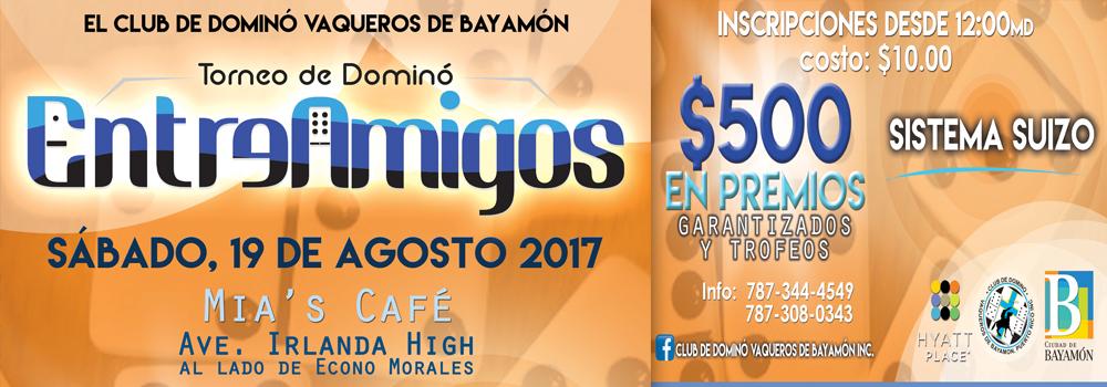 Torneo de Domino Entre Amigos el 19 de agosto desde el mediodía en Mia