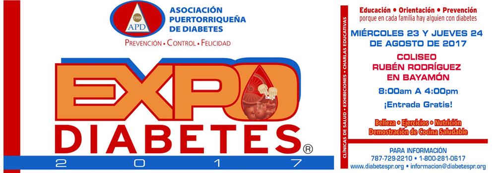 Expo Diabetes el 23 y 24 de agosto de 2017 en el Coliseo Rubén Rodríguez desde las 8am