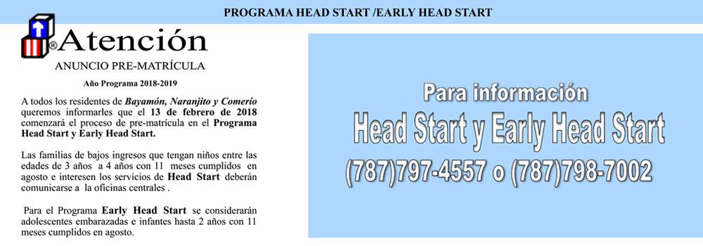 Head Start Anuncio pre-matricula 2018