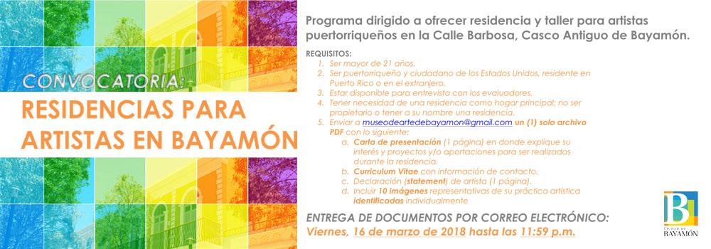 Convocatoria: Residencias para artistas en Bayamón