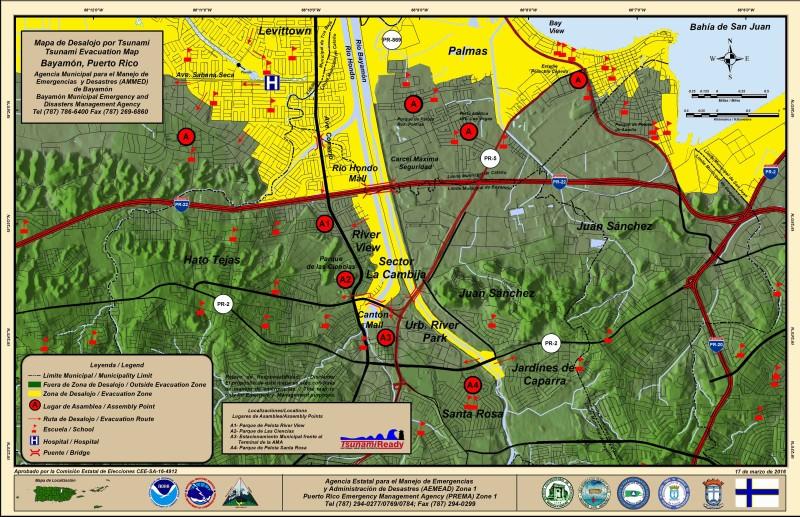 Mapa de Desalojo de Tsunami: Bayamón