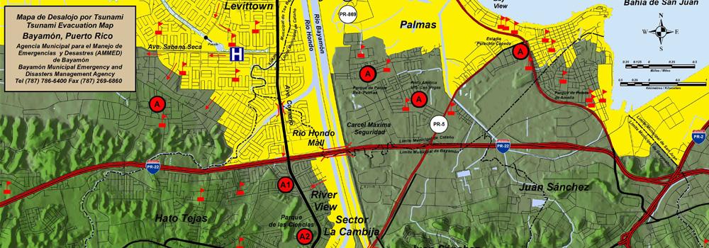 Mapa de Desalojo por Tsunami para Bayamón