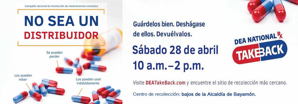 Centro de recolección de medicamentos recetados el 28 de abril de 10am a 2pm en los bajos de la Alcaldía de Bayamón