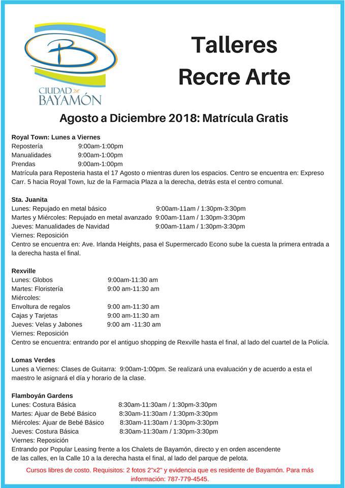 Cursos RecreArte para cursos de Agosto a Diciembre 2018