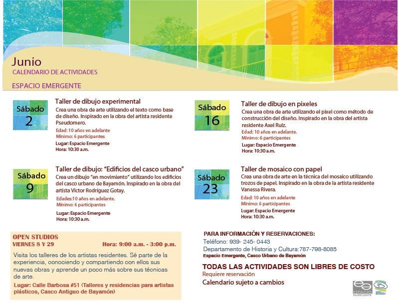 Calendario de actividades para Espacio Emergente para el mes de junio