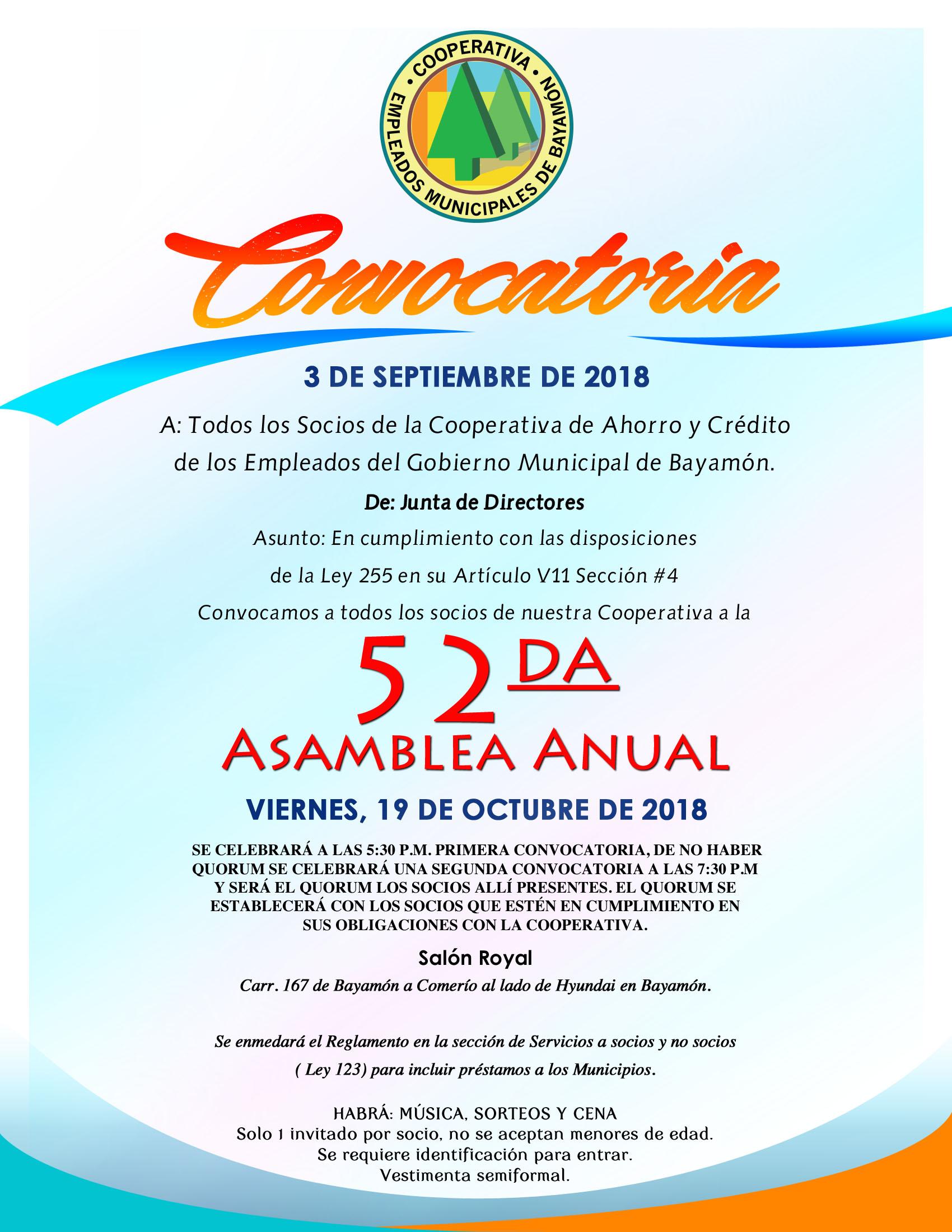 52da Asamblea Anual de la Cooperativa de Empleados Municipales