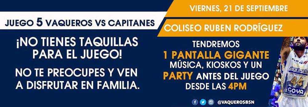 Pantalla Gigante, Musica, Kiokos y un Party - Juego 5 de Vaqueros en el Coliseo Ruben Rodriguez