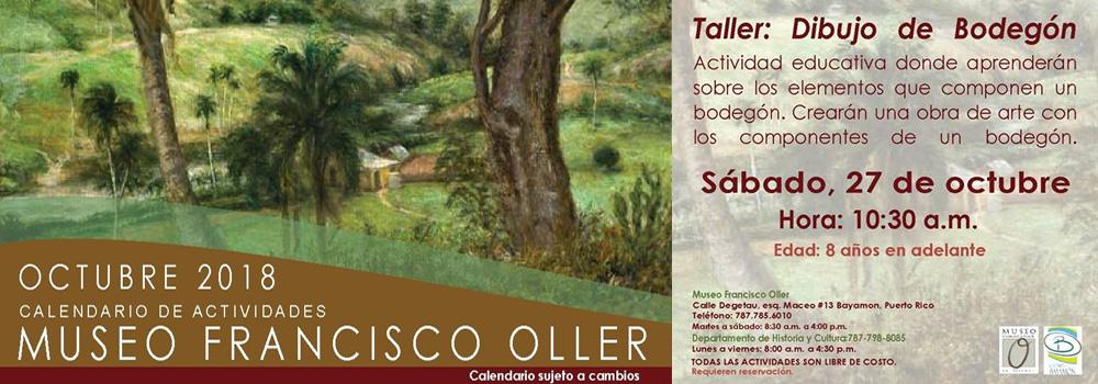 Taller Dibujo de Bodegón el 27 de octubre de 2018 a las 10:30 a.m. en el Museo Francisco Oller
