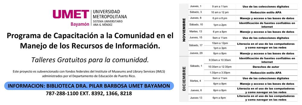 Talleres en la Biblioteca Municipal Dra. Pilar Barbosa - Noviembre y Diciembre 2018