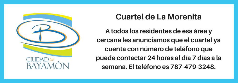 Teléfono Cuartel de la Morenita: 787-479-3248