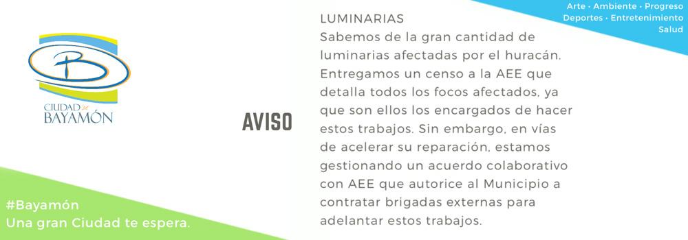 Aviso: Luminarias - Entregamos un censo a la AEE que detalla todos los focos afectados. Estamos gestionando un acuerdo colaborativo con AEE.