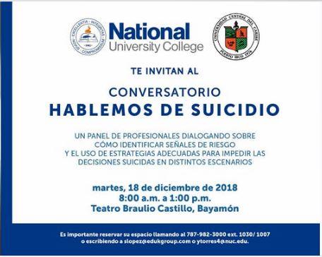 Anuncio Conversatorio Prevención del Suicidio