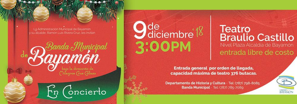 Banda Municipal de Bayamón en Concierto el 9 de diciembre a las 3:00 p.m. en el Teatro Braulio Castillo