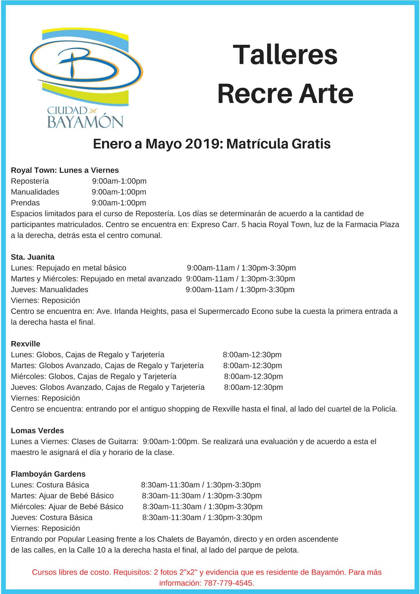 Talleres y Matricula Recre Arte Enero 2019