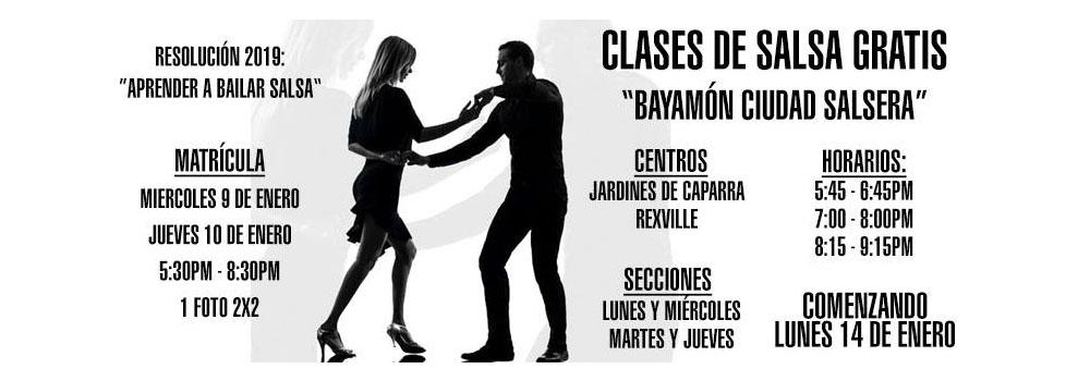Matricula para Bayamon Ciudad Salsera:  9 y 10  de enero de 2019