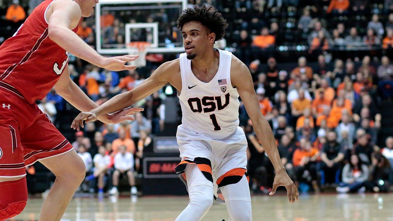 Thompson tiene promedio de 15.9 puntos, 4.5 rebotes y 3.8 asistencias en la NCAA con Oregon State.