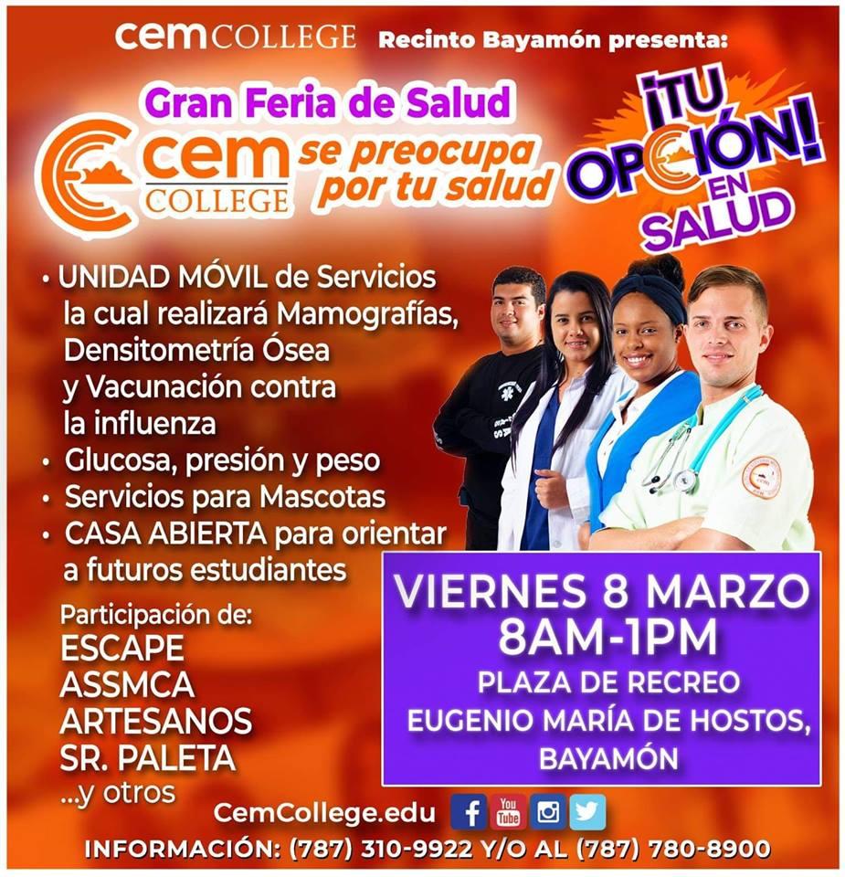 Gran Feria de Salud Cem College en la Plaza de Recreo el 8 de marzo a las 8am