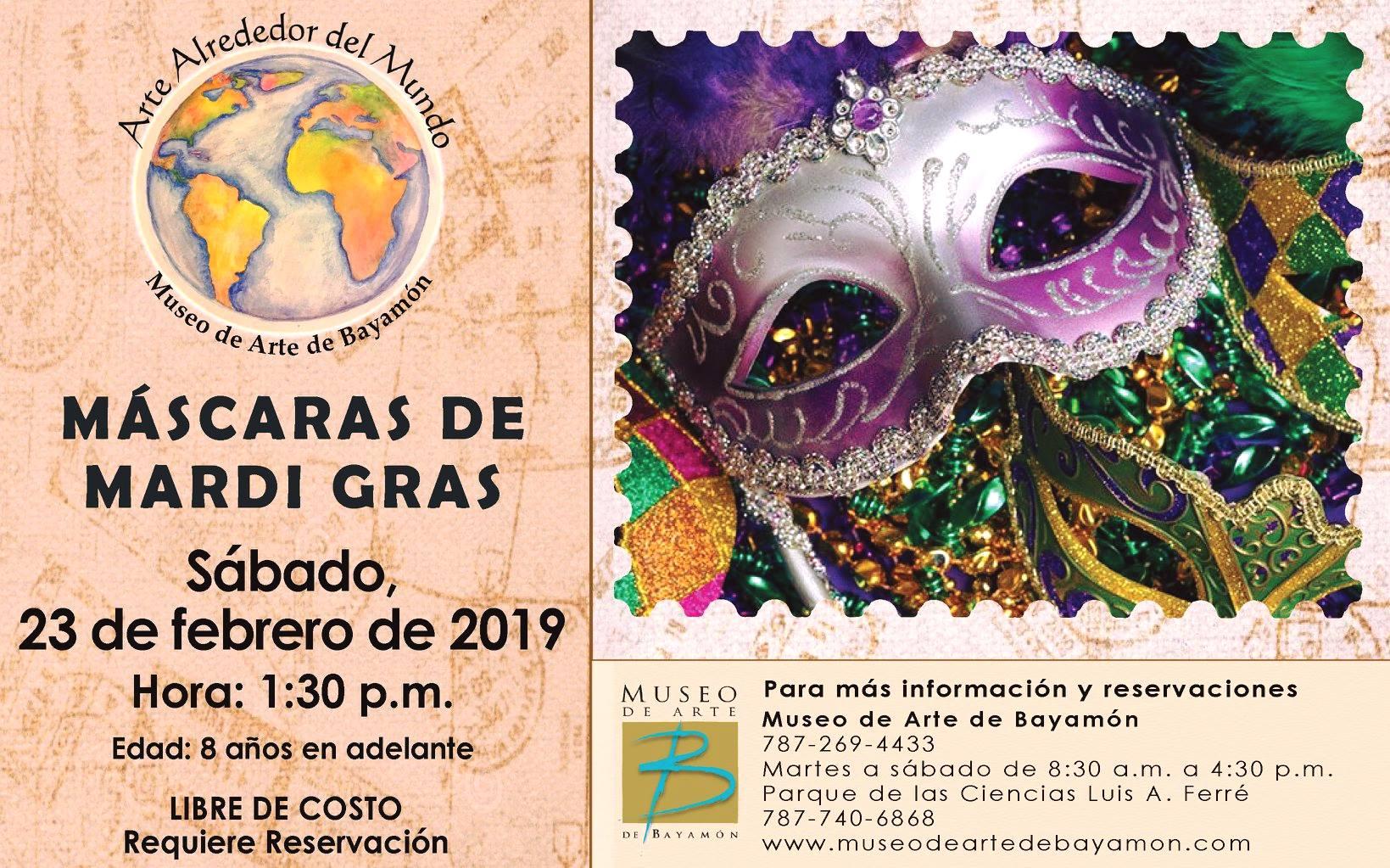 Taller de Máscaras de Mardi Gras el 23 de febrero de 2019 a las 1:30 p.m. en el Museo de Arte de Bayamón