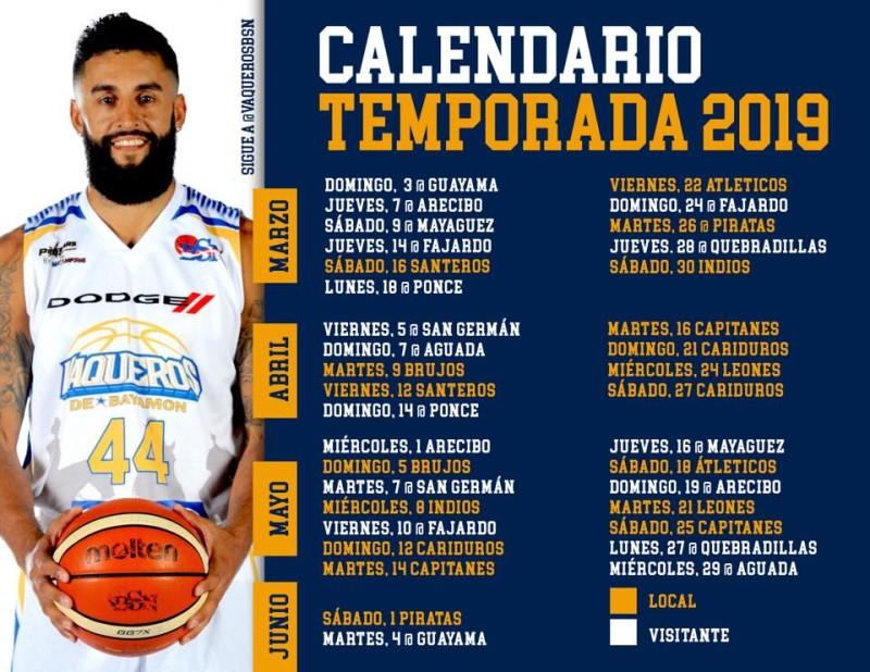 Calendario de Juegos BSN Temporada 2019