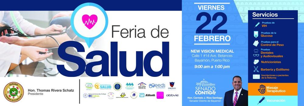 Feria de Salud el 22 de febrero de 2019 de 9am - 1pm en New Vision Medical