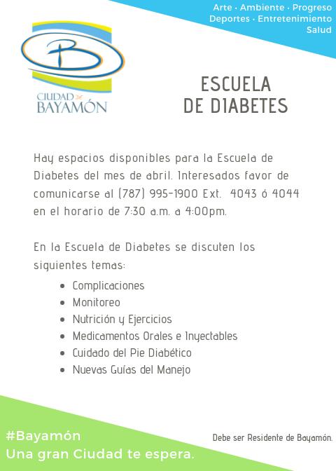 Escuela de Diabetes. Para Info llamar al 787-995-1900 Ext. 4043 o 4044