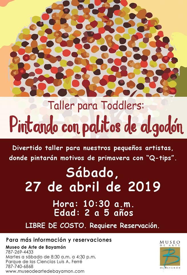 Taller para Toddlers: Pintando con Palitos de Algodón el 27 de abril de 2019 a las 10:30am en el MAB