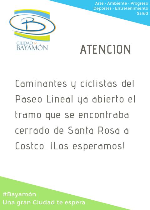 Atención caminantes y ciclistas: el Paseo Lineal abierto tramo de Santa Rosa a Costco
