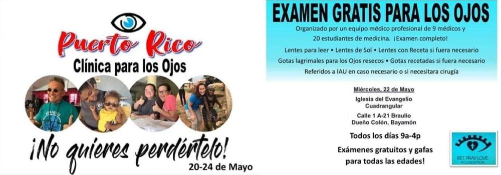Examen gratis para los ojos el 22 de mayo en la Iglesia del Evangelio Cuadrangular de 9am-4pm